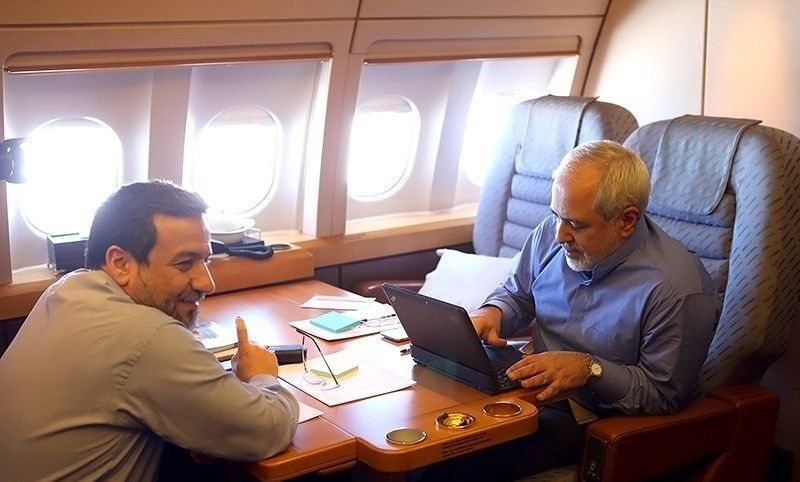 FM_Javad_Zarif_and_his_deputy_Abbas_Araghchi_in_airplane