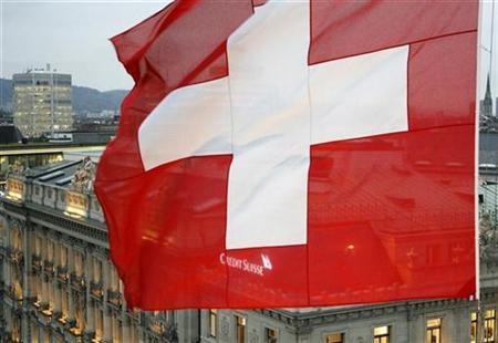 A Swiss National Flag Waves in Front of the Headquarters of Swiss Bank