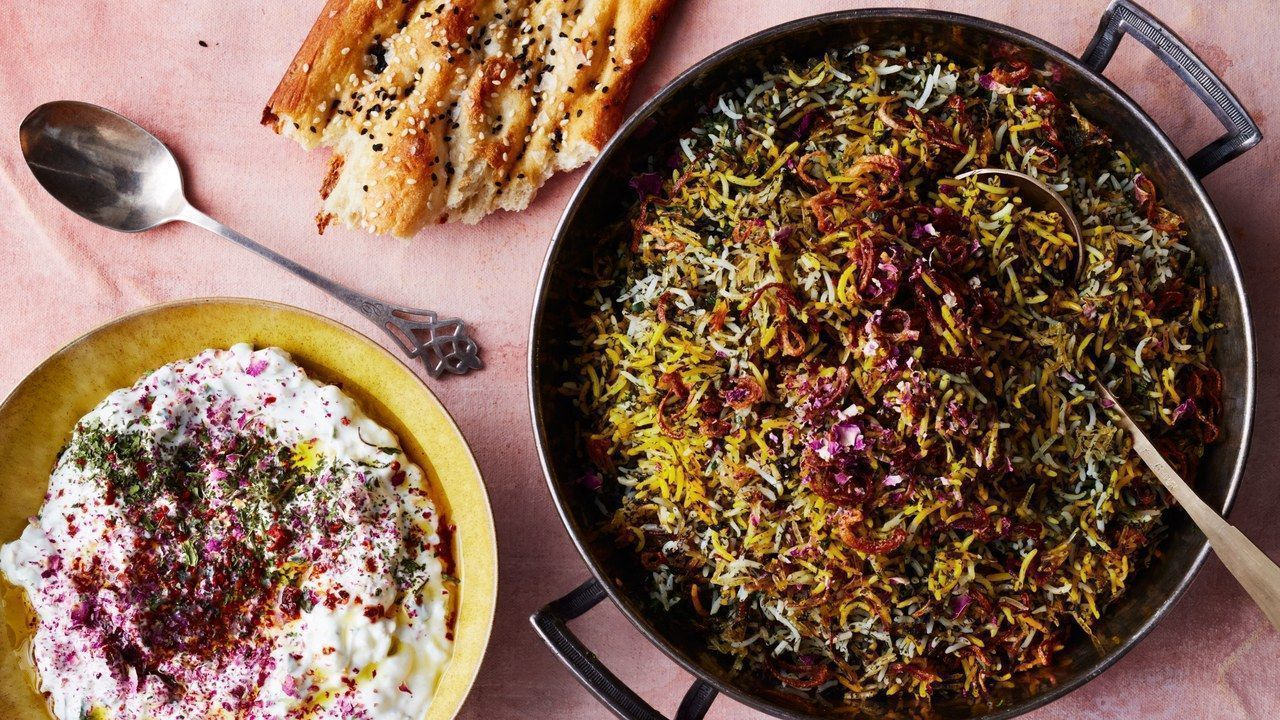 herb-rice-with-green-garlic-saffron-and-crispy-shallots