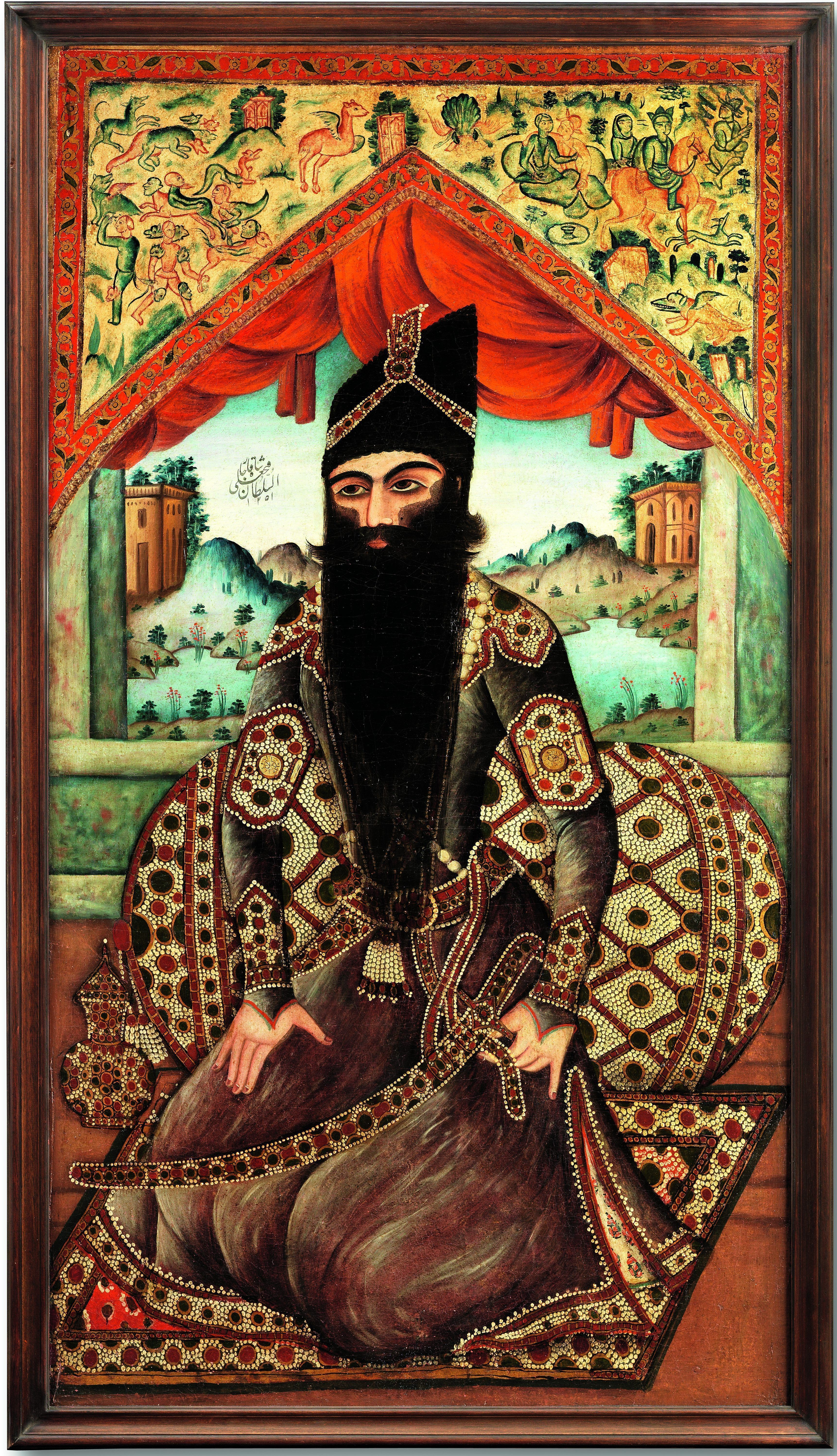 A-PORTRAIT-OF-FATHALI-SHAH-QAJAR-SEATED-AGAINST-A-JEWELLED-BOLSTER-FROM-THE-COURT-WORKSHOP-e1556283907567