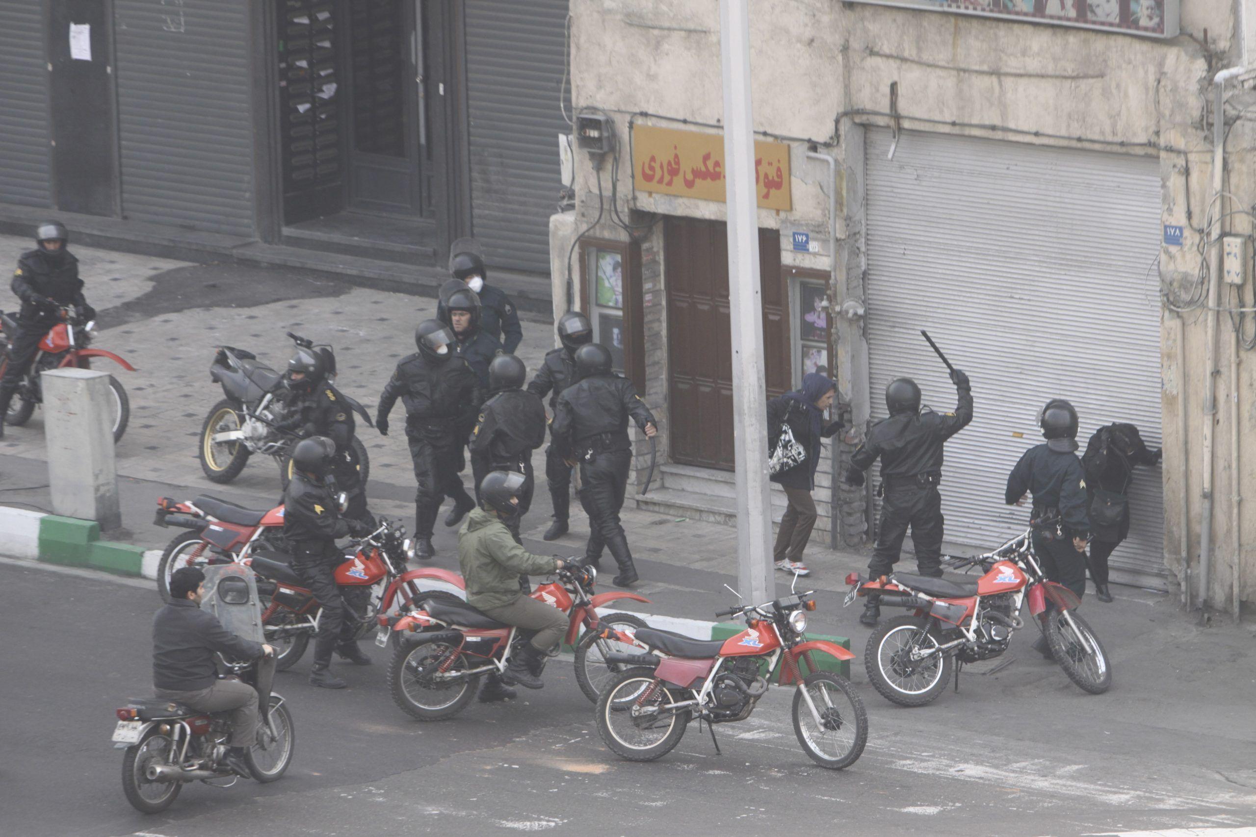 FILE PHOTO: Anti-government protesters clash in Tehran, Iran. REUTERS./