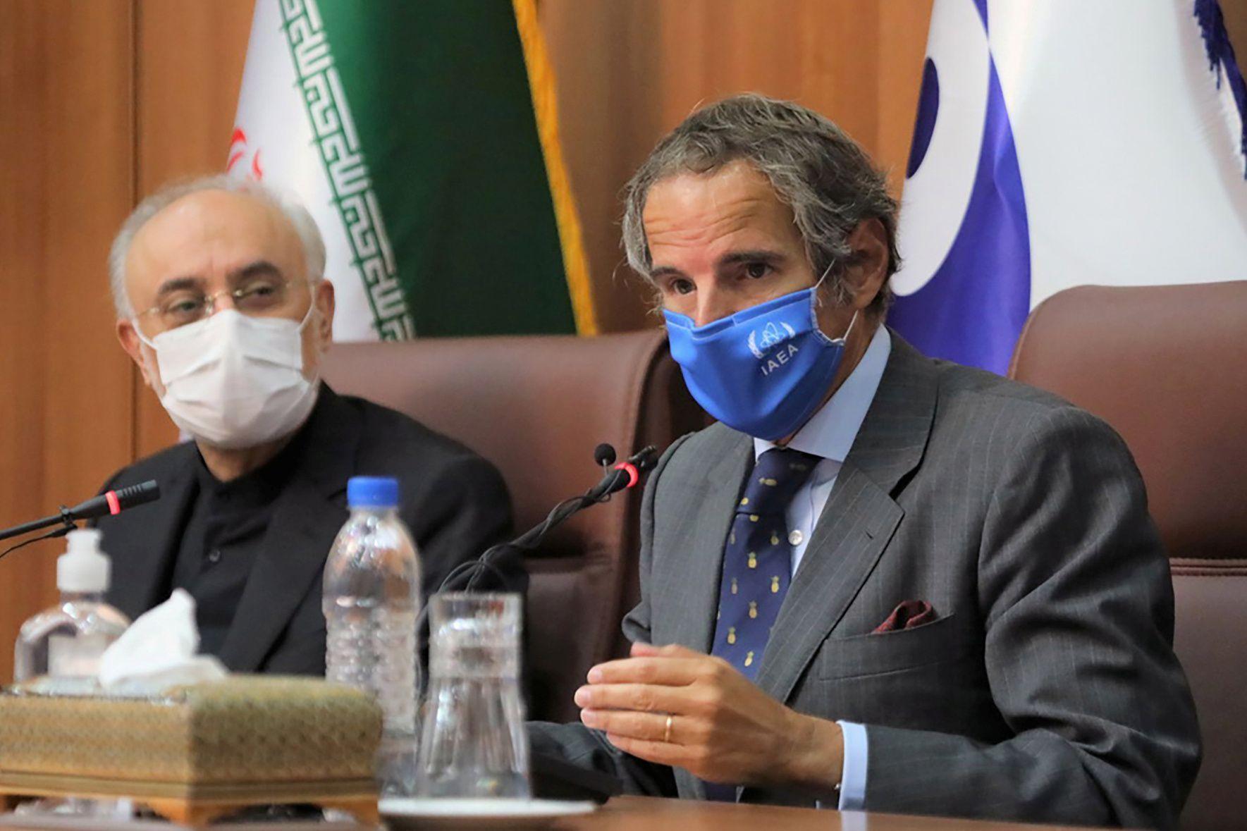 International Atomic Energy Agency (IAEA) Director General Rafael Grossi speaks during a press conference with Head of Iran's Atomic Energy Organization Ali-Akbar Salehi in Tehran, Iran August 25, 2020.